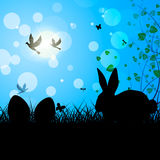 Easter Eggs Means Text Space And Bunny Stock Photos
