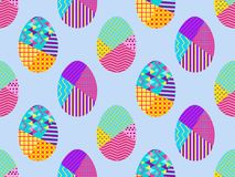 Easter eggs in the memphis style, seamless pattern. Vector. Illustration Stock Photo