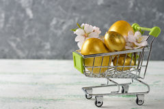 Easter eggs in a metal basket Royalty Free Stock Photo
