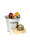 Easter eggs in a metal bucket Stock Image