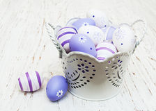 Easter eggs in a metal pot Royalty Free Stock Images