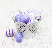 Easter eggs in a metal pot Royalty Free Stock Image