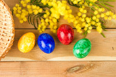 Easter eggs with mimosa. Easter eggs and mimosa on the wood Stock Image