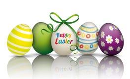 5 Easter Eggs Mirror Stock Photo
