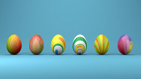 Easter eggs with modern patterns, trendy design concept, 3d illustration Stock Image