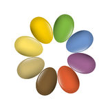 Easter eggs multi-colored set. Stock Images