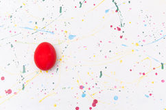 Easter eggs. On multicolor pad table Stock Photography