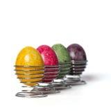 Easter eggs. Multicolored chicken eggs in egg holder. Easter eggs Stock Image