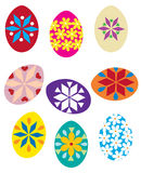 Easter eggs. Multicolored painted Easter eggs with flowers and ornaments Royalty Free Stock Photography