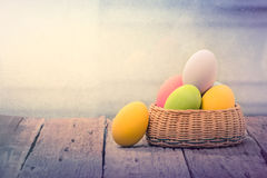 Easter Eggs 0n wood table Royalty Free Stock Images