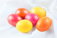 Easter eggs on the napkin Stock Photography