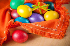 Easter eggs on the napkin Stock Photos