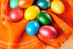 Easter eggs on the napkin Stock Image