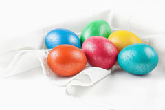 Easter eggs on the napkin Royalty Free Stock Photos