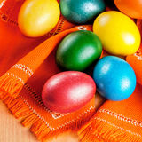Easter eggs on the napkin Royalty Free Stock Photography