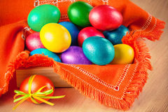 Easter eggs on the napkin Royalty Free Stock Images