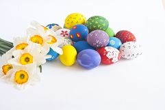 Easter eggs with narcissus Royalty Free Stock Image