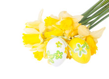 Easter eggs with narcissus flower Royalty Free Stock Image