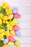 Easter eggs with narcissus Stock Image