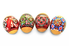 Easter eggs with national ornament on a white background Stock Photography