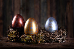 Easter eggs in natural nest Stock Images