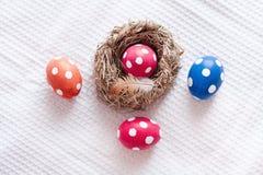 Easter eggs near birds nest on checkered white background Stock Photography