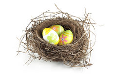 Easter eggs in nest. On white background Royalty Free Stock Photography