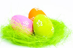 Easter eggs in a nest Stock Images