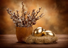 Easter eggs in the nest Royalty Free Stock Photography