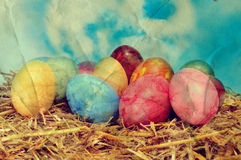 Easter eggs on a nest. A vintage picture of some easter eggs on a nest Stock Photo