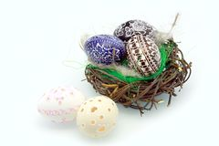 Easter eggs in the nest Stock Photo