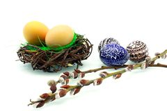 Easter eggs in the nest Royalty Free Stock Photos