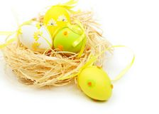 Easter eggs in nest Stock Photos