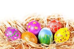 Easter eggs in nest Stock Photo