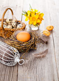 Easter eggs nest with birdcage Royalty Free Stock Image