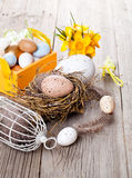Easter eggs nest with birdcage Stock Photo