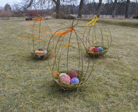 Easter eggs in the nest, installation. Royalty Free Stock Photography