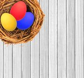 Easter eggs in nest over white wooden Stock Photography