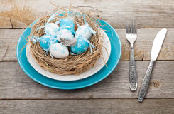Easter eggs nest on plate over wooden background Royalty Free Stock Photography