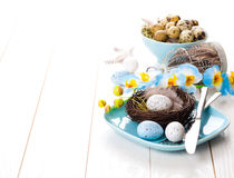Easter eggs nest on plate Stock Photo