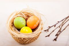 Easter eggs in nest on rustic wooden planks. Colored easter eggs in nest on rustic wooden planks with branch stock photography