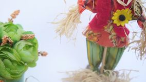 Easter eggs in a nest, a straw man stock footage