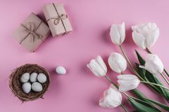Easter eggs in nest and tulips flowers on spring background. Top view with copy space. Happy Easter card. Royalty Free Stock Photography