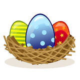 Easter eggs in the nest Stock Photography