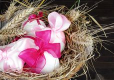 Easter Eggs in Nest with Wheat Royalty Free Stock Images