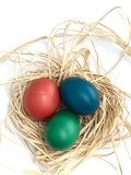 Easter eggs in three colors homemade Royalty Free Stock Images
