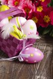 Easter eggs in nest. On wooden background stock photos