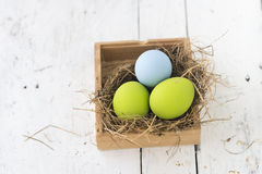 Easter eggs in the nest on wooden background Stock Image