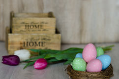 Easter eggs in nest on wooden background. Stock Photos