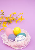 Easter eggs nested in light pink lace Royalty Free Stock Image